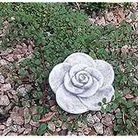 Steinfigur Steinblüte Blume Rose Steinrose Steinguss Gartenfigur Frostfrei