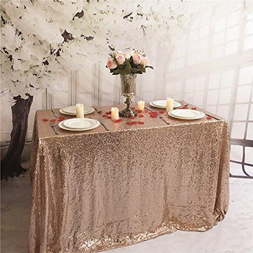 YZEO-Pailletten 152,4x 320cm Tischdecke, Hochzeit Party Home Events Pailletten Tischdecke Decor, Größe _ Farbe Optional, Sonstige, rosegold, 60