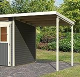 Karibu Gartenhaus Glücksburg 3 terragrau Sparset mit Schleppdach 19 mm