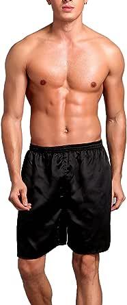 Dolamen Men's Pyjamas Bottoms Shorts Satin, 2 Pack Silky Satin Nightwear Underwear Boxer Casual Trunks Trousers Pants Elastic Waistband Sleeping Leisure Time