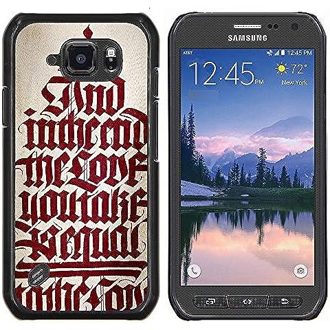 Copertura di plastica Shell Custodia protettiva || Samsung Galaxy S6 Active G890A || bibbia testo calligrafia rosso citazione medievale @XPTECH - Copertura Bibbia Red