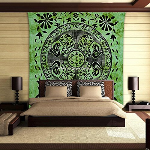 coltura-stylo-culture-mandala-arazzo-cotone-verde-nero-verde-printed-tie-dye-elefante-bedspread