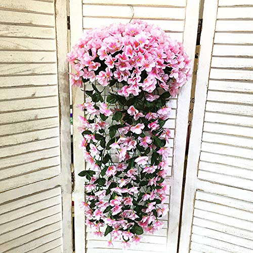 Dekorative Kunstpflanzen Kunststoff Violet Flower Fake Flower Decoration Wandbehang Orchid Basket. Innenwohnzimmer-Blumen-Rebe-künstliche violette Kunstpflanzedekor-Kunstpflanzerebe@Pink 1 Bundle Bundle Reben