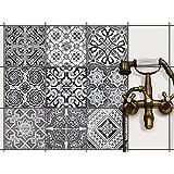 Stickers carrelage - salle de bain et cuisine   Carrelage Autocollant Sticker - Aménager cuisine   carreau adhesif cuisine - Carrelage autocollant   Design Black n White - 20x20 cm - 9 pièces