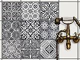 Fliesenmuster Deko-Folie Fliesen - Klebefliesen Mosaikfliesen Stickerfliesen | Fliesen-Folie Sticker Aufkleber Badezimmer deko Küche Wand-Fliesen überkleben | 20x20 cm - Motiv Black n White - 9 Stück