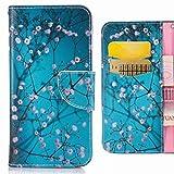 Funda LG Q6 (M700N M700A) Carcasa, Ougger Premium Cuero Piel Tapa Flip Stand Billetera Cover Protector Suave TPU Silicona Bumper Carcasas LG Q6 con Ranura para Tarjetas, Flor de Ciruelo