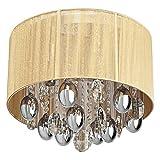Deckenlampe Modern Rund Stoffschirm Beige Chrom Wohnzimmer