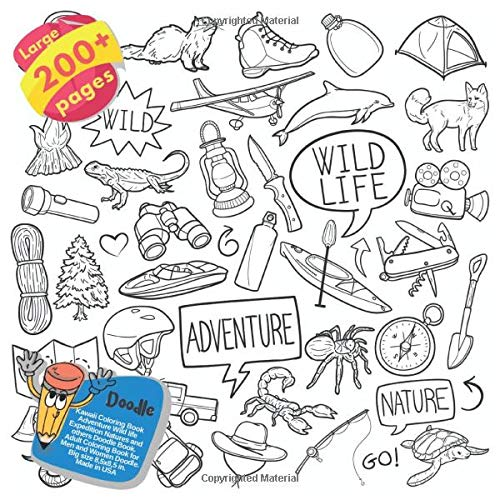 Kawaii Coloring Book Adventure Wild life Expedition Natures and others Doodle Book Large 200+ pages. Adult Coloring Book for Men and Women Doodle. Big size 8,5x8,5 in. Made in USA (My Pony-clearance Little)