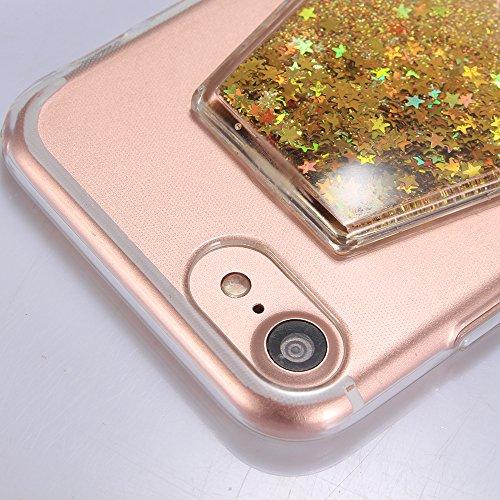 """Housse pour Apple iPhone 7Plus 5.5""""(NON iPhone 7 4.7""""), CLTPY 3D Coloré Scintillement Placage Bordure Case, Ultra Léger Mince Hull de Protection Absorption des Choques pour iPhone 7Plus + 1x Stylet -  Poudre d'or"""