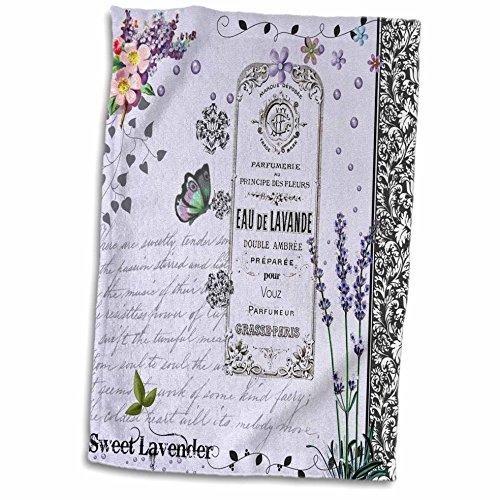 Hand-/Sporthandtuch, 3D-Rose, Violett/Lavendel, Shabby Chic, Blumen-Collage, Blumenmuster, Schmetterlinge und Schwarze Wirbel, 38,1 x 55,9 cm - Geschirrtücher Lavendel