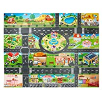 JTMM Kids Carpet Playmat City Life,Plastic PVC Playmat Size39.3X51.1in/100x130CM Kids Rug Game Area Rug Carpet & Educational Learning Gift for Kids and Children Bedrooms and Playroom