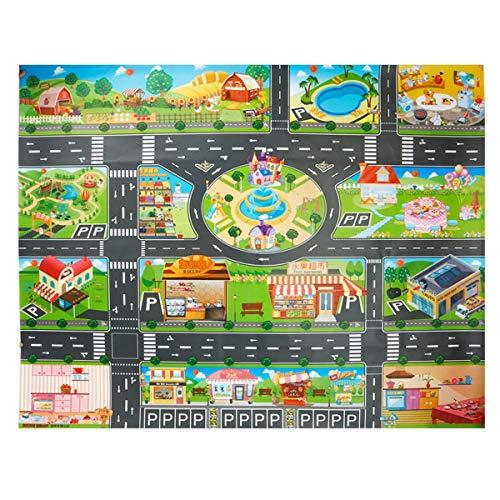 DUODE Alfombra infantil para la vida de la ciudad con 1 coche, tamaño 86,36 cm, alfombra para niños y niñas, alfombra para la zona del juego y alfombra educativa para el aprendizaje como regalo para niños y niños, dormitorios y sala de juegos
