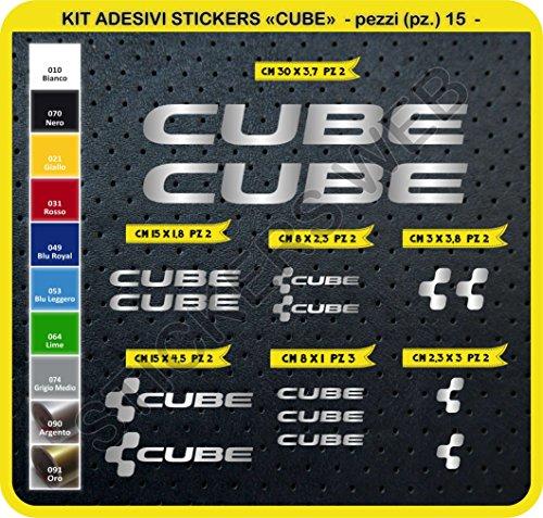 Code 0094- Cube selbstklebend Fahrrad Aufkleber-Kit, 15Aufkleber, Auswahl von Farben - Argento cod. 090
