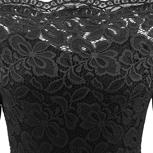 Longra Robe Femme Fille Vintage Robe en dentelle Taille empire Robe trapèze Robe de Soirée Cocktail Anniversaire Cérémonie Mariage Fête Robe du soir Midi Robe Élégant Originaux Noir