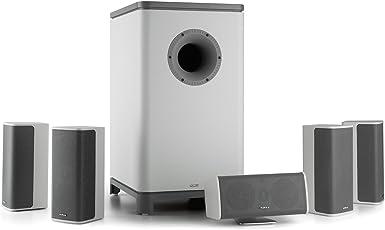 Numan Ambience 5.1-Surround-Sound-System Heimkinosystem Stereo Lautsprechersystem Aktiv-Mono-Subwoofer Satellitenlautsprecher Front-Numan-Bassreflexport Max. 120 Watt weiß