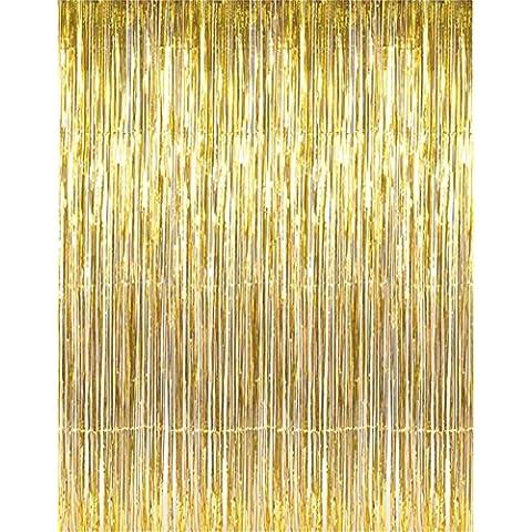 linkw espumillón metálico Foil Fringe Cortinas para Telón de fondo de fotos de fiesta boda (oro) (2unidades)