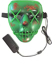 Neusky LED LEUCHT Maske, 3 Verschiedene Blinkmodi Elektronik Maske, Party Leuchtmaske (Grün-Grün)