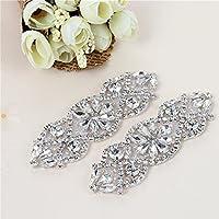 (2 piezas) Rhinestone Applique con Cristales y Perlas para el Vestido  Headpieces Bolsas Cinturon 6330cf94650a