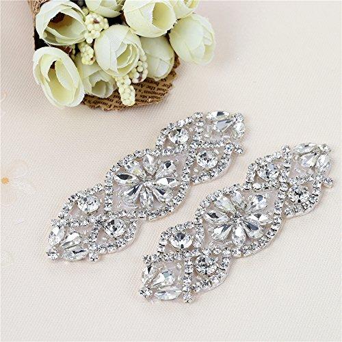(2pcs) cinta decorativa con strass, motivo floreale per abito da sposa