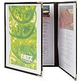 Securit Crystal Range Porte-menus Transparent A4 Bords bruns 3 plis