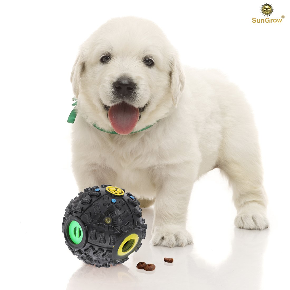 SunGrow Interactive Treat Dispenser Dog Toy – Food Puzzle Ball – for Mental & Physical Stimulation – Increases IQ, Boredom Buster – Produce Sound on Rolling – for Cats, Puppies, Small & Medium Pets