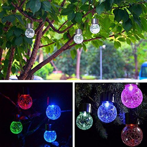 4 X Solarleuchten Hängeleuchten Solar Farbwechsel LED Hängeleuchte Garten, LED Solar Crackle Glaskugel Leuchten für Garten , Party, Weihnachtsbaumschmuck Light by NORDSD