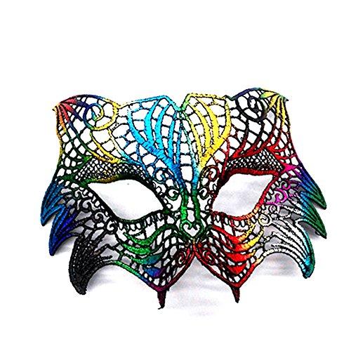 CAOLATOR Halloween Masquerade Maske Damen Spitze Augenmaske Bunt Lace Gesichtsmaske Maskenball Masken für Tanz Kostüm Karneval Party(18)