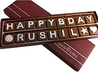 Swankit's Chocolates with Happy Birthday and a Name Message Box (Customizable)