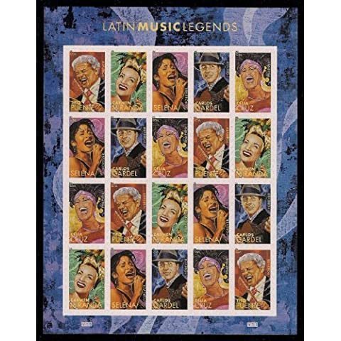 Latin Music Legends - Sheet of 20 Forever Stamps Scott 4497-4501 by USPS