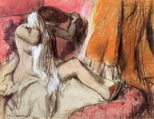 Das Museum Outlet-Sitzender weibliche Akt auf einem Chaise Lounge von Degas-Leinwand (61x 45,7cm) -