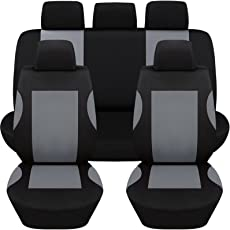 Hamimelon Universal Auto Autositzabdeckung Autositzbezuege KFZ PKW Sitzbezuege Schonbezuege Bezug Sitzschoner Sitzschutz Schutz Komplettset Grau Kurve