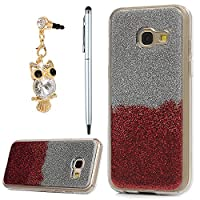 Galaxy A3 Case 2017, YOKIRIN Luxury Bling Glitter Sparkle Designer Case Ultra Slim Fit Lightweight Shockproof Scratch Resistant TPU Gel Soft Thin Silicone Back Cover for Samsung Galaxy A3, Sliver and Red