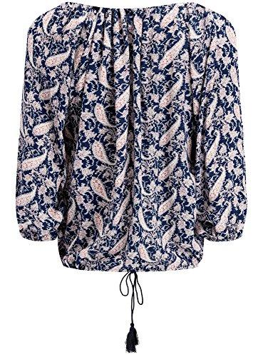 oodji Collection Femme Blouse Coupe Ample avec Liens à Nouer Bleu (7912E)