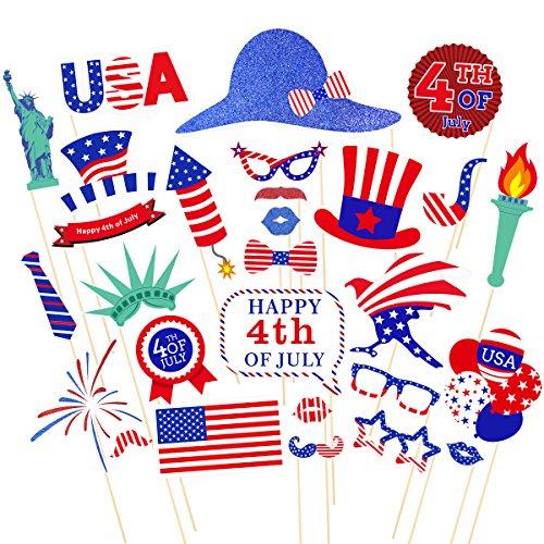 BESTOYARD 4. von Juli Photo Booth Requisiten für Amerikanischen Unabhängigkeitstag Patriotische Foto Requisiten Partei Liefert 28 STÜCKE (Patriotische Partei Liefert)