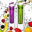 2x 800ml Trinkflasche für Fruchtschorlen / Gemüseschorlen in den Farben Grün/Lila & Blau/Rot. Perfekte Sportflasche aus spülmaschinenfesten Tritan-Material mit extra-easy Trinkverschluss zum Sparpreis im Set Grün/Lila