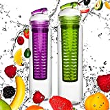2x 800ml Trinkflasche »FruitBottle« für Fruchtschorlen / Gemüseschorlen in den Farben Grün/Lila & Blau/Rot. Perfekte Sportflasche aus spülmaschinenfesten Tritan-Material mit extra-easy Trinkverschluss zum Sparpreis im Set Grün/Lila