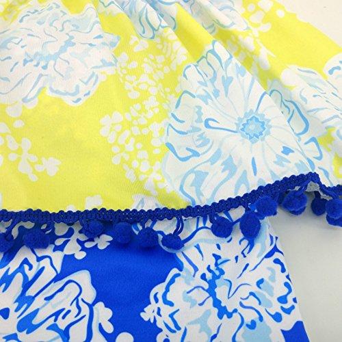 Summer Mae Damen Off-Shoulder Badeanzug Gemustert Badeanzug mit Volant Badekleid Druck Blau