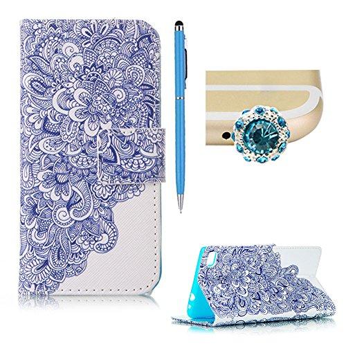 SKYXD Huawei P8 Lite 2016 5.0 Zoll Hülle Leder Blau Lotus Muster Folio Klappbar Handy Tasche Schutzhülle [Magnet / Brieftasche Kartenfach / Standfunktion] Klapphülle mit [Handyanhänger + Eingabestift] Zubehör Set für Huawei P8 Lite 2016 5.0 Zoll Case Bookstyle Flip Leather Cover With [Stylus and Dust Plug]