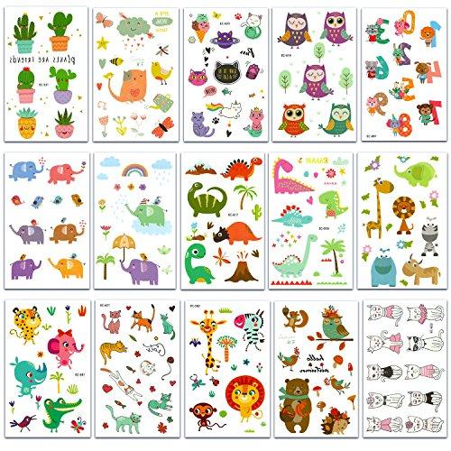 Chileeany set di 15 fogli tatuaggi temporanei,impermeabile tatuaggio temporaneo 120 × 75 mm (multicolore)