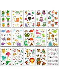 Chileeany Lot de 15 Tatouages Temporaire pour enfants fille garçons Tattoos Étanche 120x75 mm,motifs variés