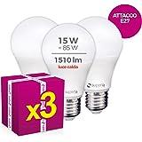 Superia Lampadina LED E27 Goccia, 15W (Equivalenti 85W), Luce Calda 3000K, 1500 lumen, OP15C, Pacco da 3