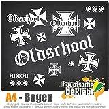 Bogengröße A4 - Oldschool - Eisernes Kreuz - Aufkleberset IN 15 Farben - Neon + Chrom! Sticker Aufkleber