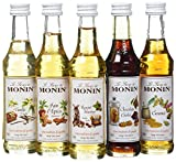 Monin Coffret Chaud Caramel/Chocolat Cookie/Noisette Grillée/Pain d'Épices/Vanille 5 x 5 cl