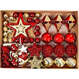 Valery Madelyn Christmas Baubles Infrangibile Décor, 30-100mm Luxury Red Gold Tree Decoration Pallina di plastica Ornamenti Regalo con Tree Topper e String Pre-Tied (Set di 70)