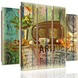 Feeby Frames, Cuadro de pared - 5 partes - Cuadro decorativo, Cuadro impreso, XXL Cuadro Deco Panel, Tipo B, 140x300 cm, VINTAGE, RADIO, PRETZELS, CAFÉ, FLORES, DOBLE EXPOSICIÓN, MULTICOLOR