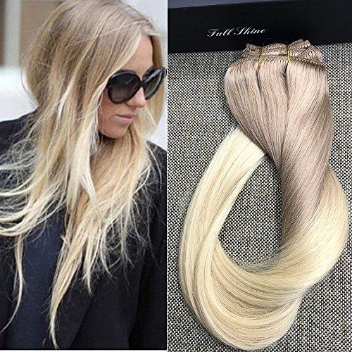 Full Shine 22 Zoll/55cm 7Pcs 120g/Set Remy Dip gefärbten Clip in Haarverlängerungen Dick Haarverlängerungen Echthaar Balayage Erweiterungen Menschliches Haar Asche Blonde Farbe # 18 Fading to Farbe # 613 Blondine (Clip-in-haar-erweiterungen 18)
