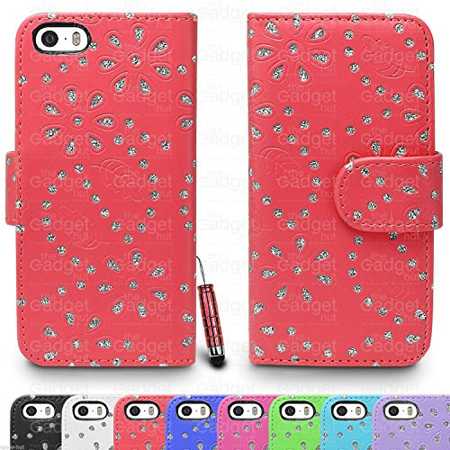 Étui @ Diamant Strass Gem Étui portefeuille à rabat en cuir pour Apple iPhone 4/4s-iphone 5/5S/iPhone -5C-iphone 6(4.7)/iPhone 6Plus 5,5Film de protection d'écran et stylet inclus Rouge