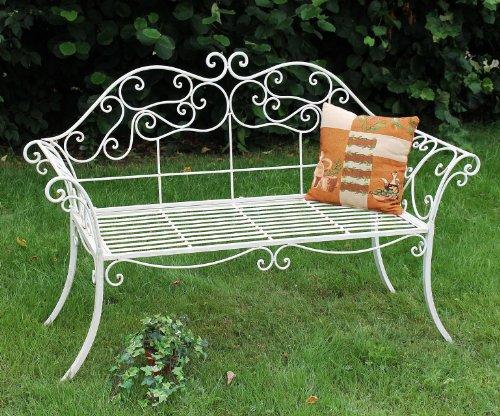 DanDiBo Gartenbank Metall Antik 111183 2 Sitzer Weiß Garten 146 cm Schmiedeeisen Sitzbank Parkbank