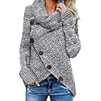 Aleumdr Womens Chunky Turtleneck Cowl Neck Asymmetric Hem Wrap Sweater Coat with Button Details for Women Grey Small