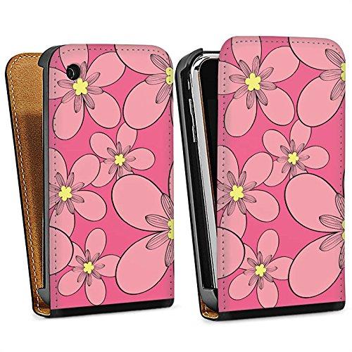 Apple iPhone 4 Housse Étui Silicone Coque Protection Fleur Motif Motif Sac Downflip noir